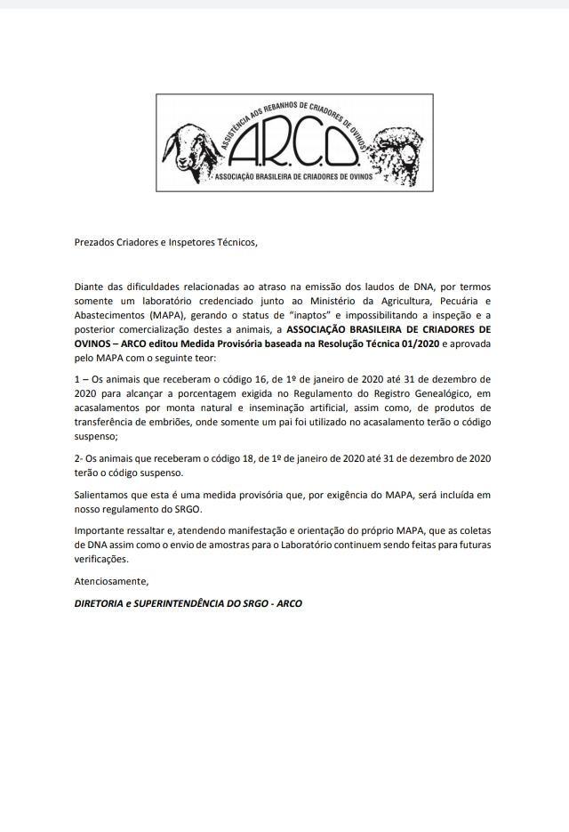 OVINOS  MEDIDA PROVISÓRIA BASEADA NA RESOLUÇÃO TÉCNICA 01/2020APROVADA PELO MAPA 10/07/20