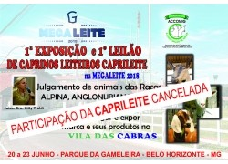 CANCELADA A PARTICIPAÇÃO DA CAPRILEITE NA MEGA LEITE