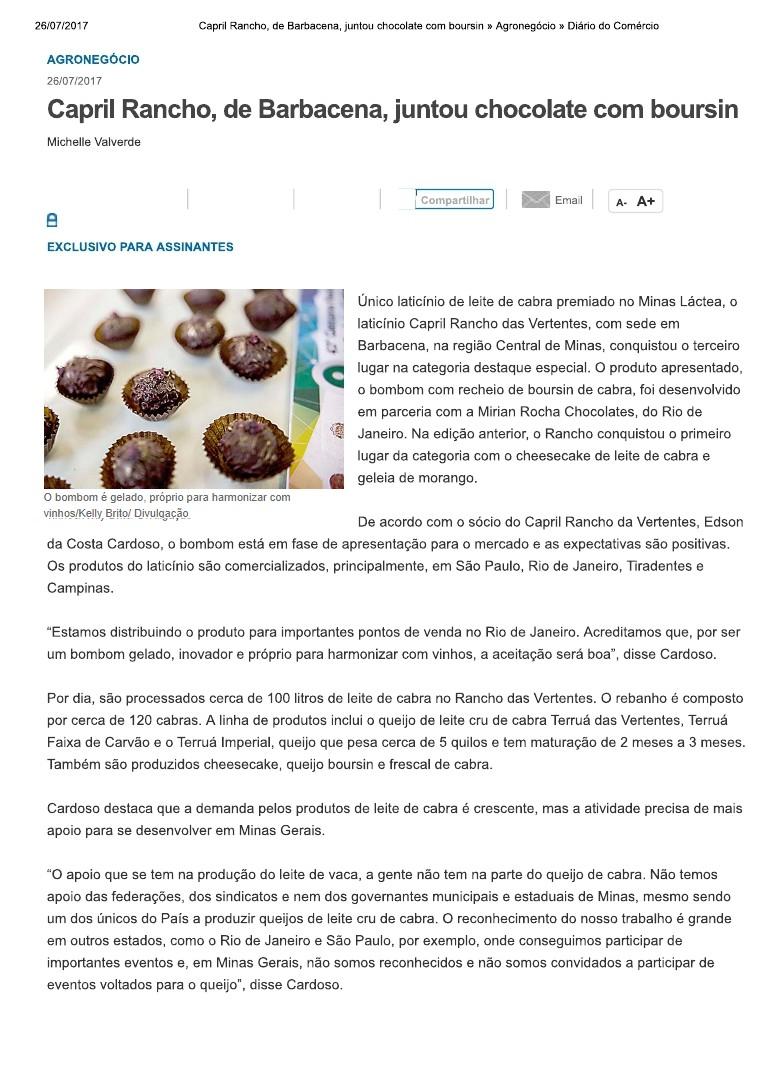 CAPRIL RANCHO DAS VERTENTESDE BARBACENAJUNTOU CHOCOLATE COM BOURSIN