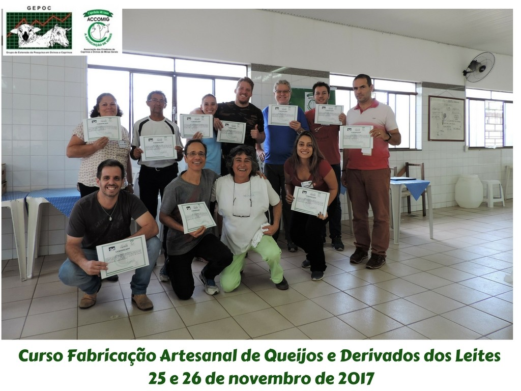 CURSO FABRICAÇÃO ARTESANAL DE QUEIJOS E DERIVADOS DO LEITE 25 e 26/11/2017 FOI UM SUCESSO!