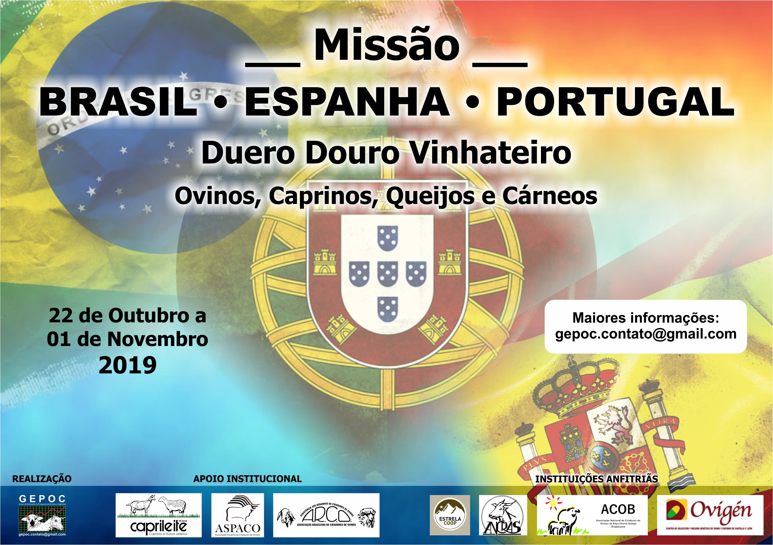 MISSÃO BRASIL &ndashESPANHA &ndashPORTUGAL 22/10 a 01/112019