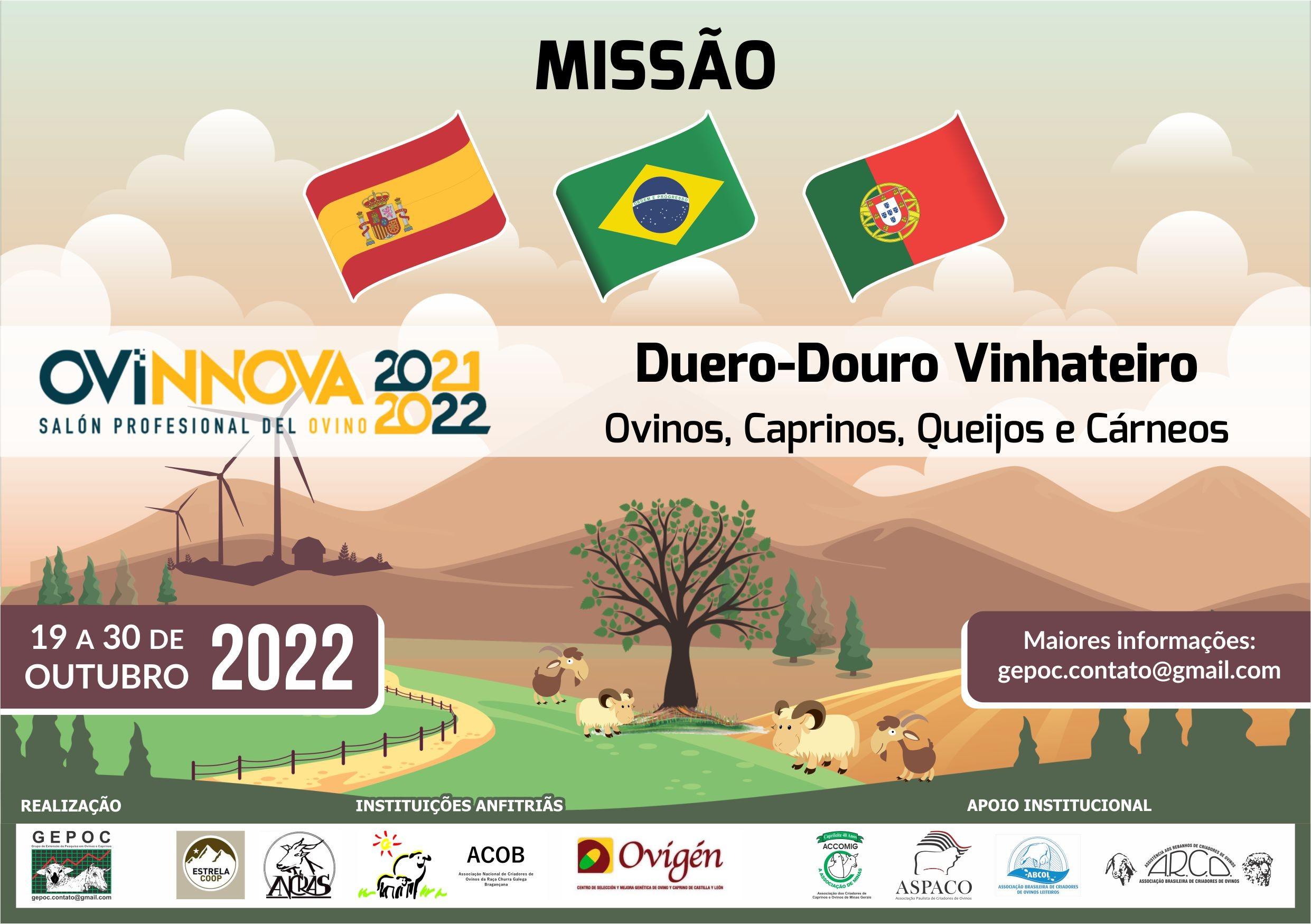 Missão BRASIL-ESPANHA-PORTUGAL com Feira OVINNOVA19 a 30/10/22