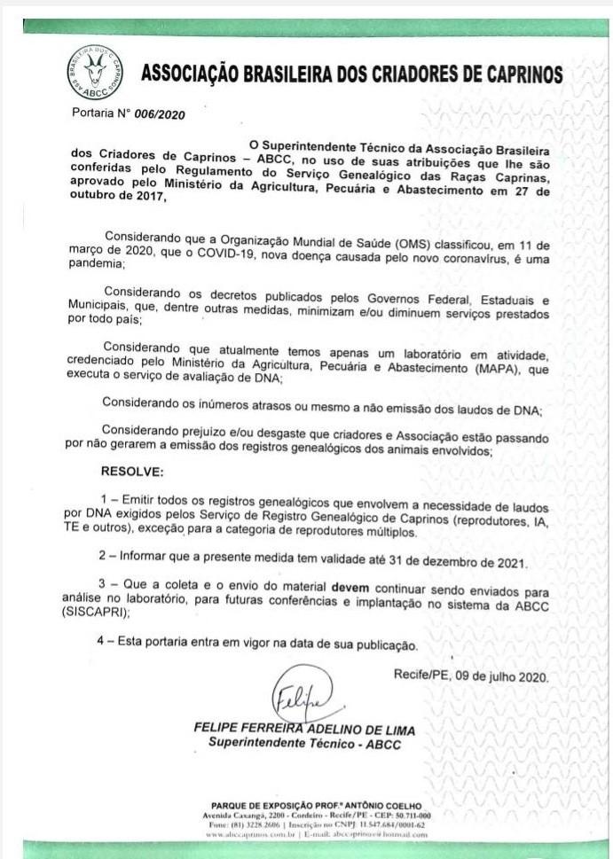CAPRINOS PORTARIA N0062020 090720