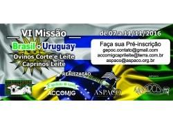 VI MISSÃO BRASIL – URUGUAY 07 a 11/11/2016 Participe!