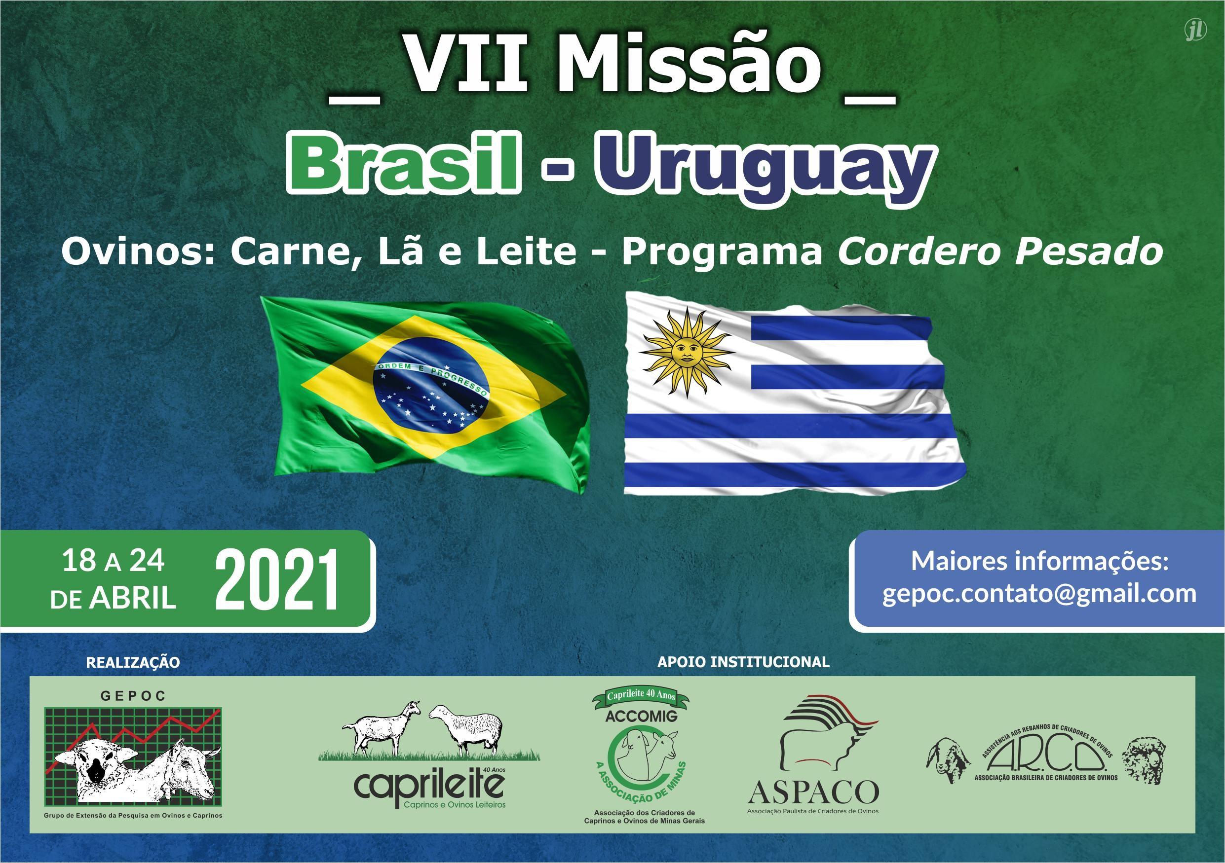 VII MISSÃO BRASIL URUGUAY 18 a 24/04/2021