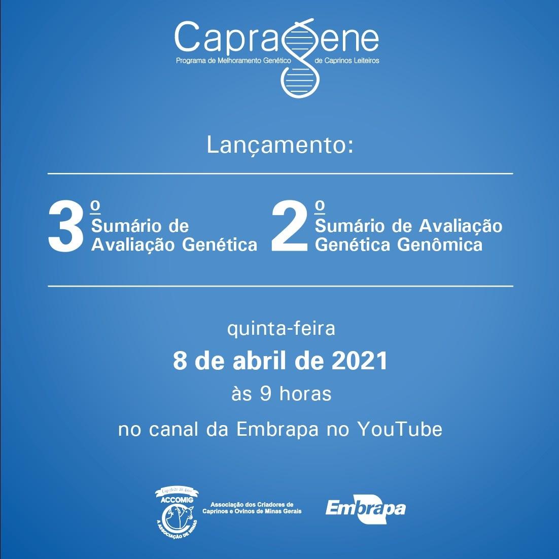 LANÇAMENTO 3&ordmSUMÁRIO DE AVALIAÇÃO GENÉTICA E 2&ordmSUMÁRIO DE AVALIAÇÃO GENÉTICA GENÔMICA 08/04/2021