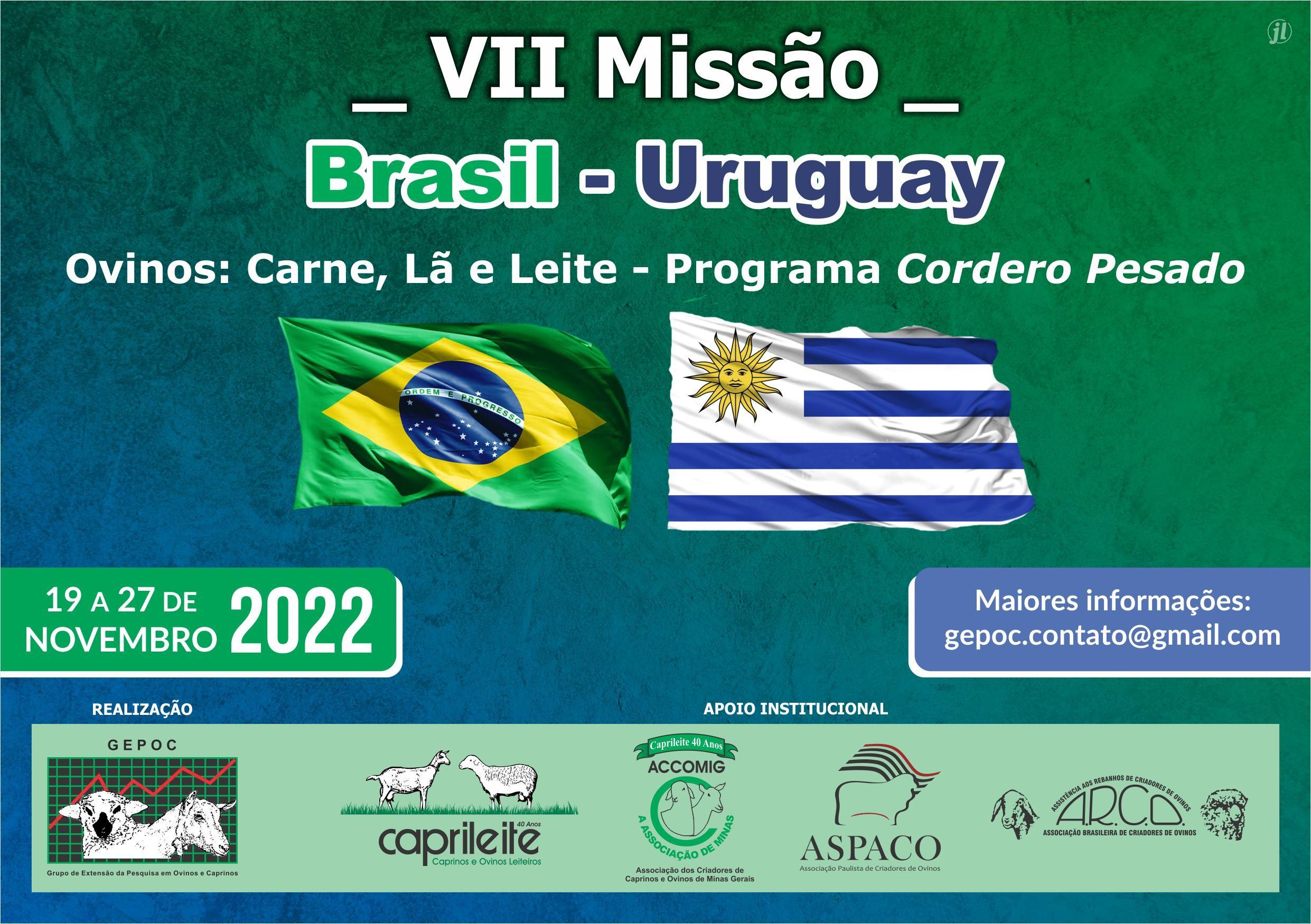 VII MISSÃO BRASIL &ndashURUGUAY19 a 27/11/2022